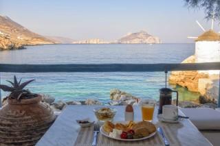 amorgos hotel mike breakfast in balcony